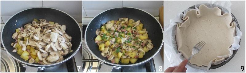 torta salata con funghi patate e pancetta e scamorza ricetta facile gustosa rustico con pasta sfoglia il chicco di mais 3 unire i funghi