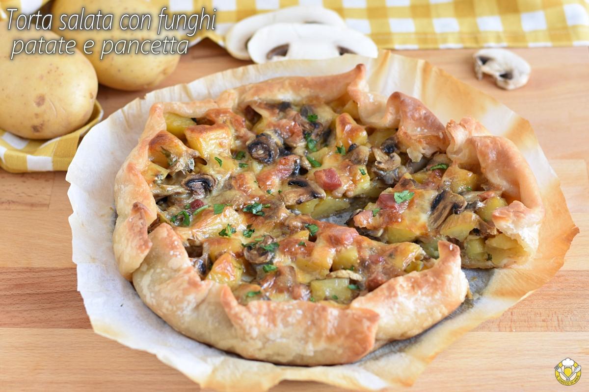 torta salata con funghi patate e pancetta e scamorza ricetta facile gustosa rustico con pasta sfoglia il chicco di mais