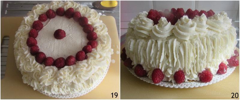 torta a strati farcita ai lamponi ricetta torta di compleanno facile senza glutine decorata con panna il chicco di mais 7 decorare con i lamponi