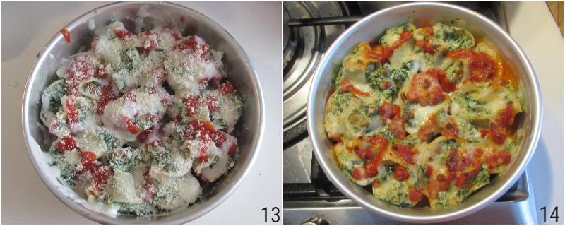 conchiglioni ricotta e spinaci al forno gratinati con pomodoro e besciamella ricetta primo facile vegetariano il chicco di mais 5 cuocere