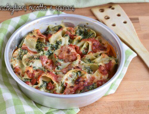 Conchiglioni ricotta e spinaci gratinati al forno