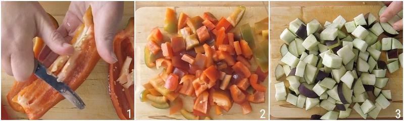 caponata senza frittura ricetta light caponata siciliana con peperoni e melanzane il chicco di mais 1 tagliare melanzane e peperoni