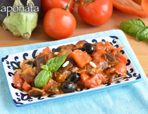 Caponata senza frittura con melanzane e peperoni