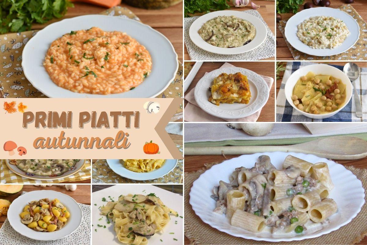 raccolta di primi piatti autunnali con zucca funghi castagne risotti zuppe pasta il chicco di mais