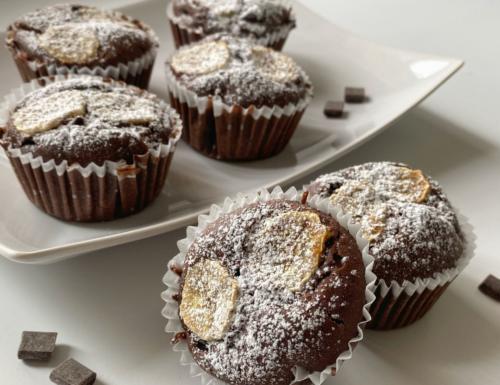 Muffin alla banana e cioccolato senza uova