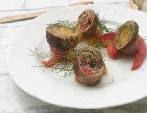 Involtini di carpaccio con verdure grigliate