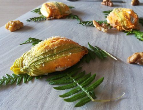 Fiori di zucchina con ricotta e noci