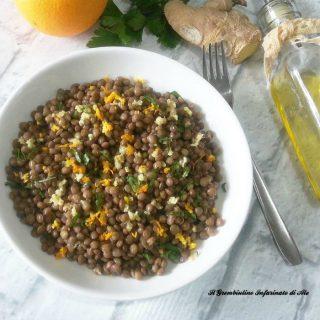 Insalata di lenticchie allo zenzero e arancia