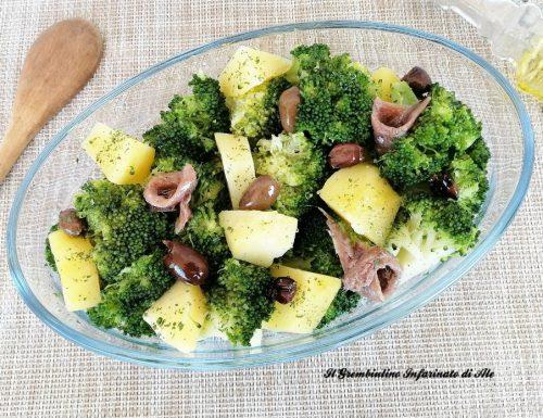 Broccolo in insalata con patate e olive taggiasche