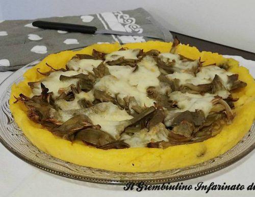 Pizza di polenta ai carciofi