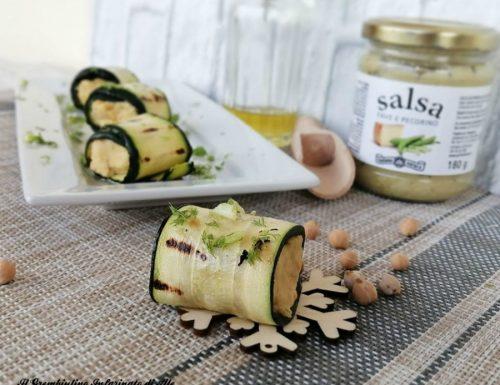 Rotolini di zucchine ai ceci e crema al pecorino