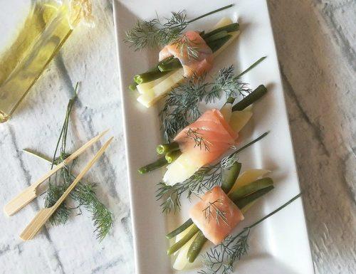 Patate e fagiolini al salmone