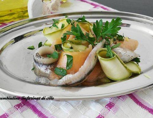 Carpaccio di melone, zucchine ed alici marinate