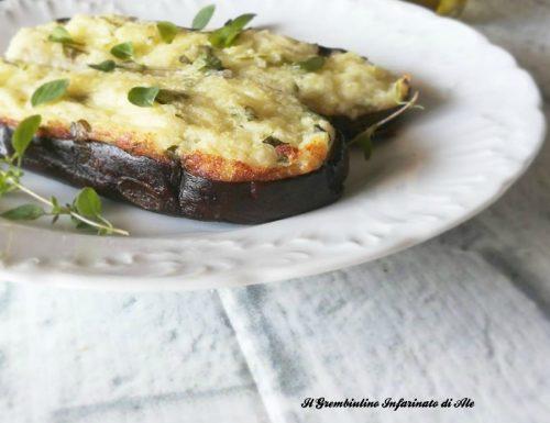 Barchette di melanzane con mousse di patate e ricotta
