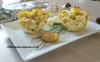 Cestini di lasagne con cavolfiore e castagne