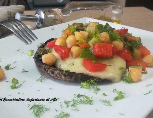 Portobello vegetariani ai ceci e scamorza