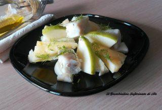 Merluzzo con finocchi, ananas e mela verde