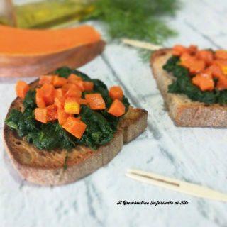Crostini zucca e spinaci