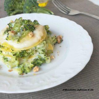 Lasagna con broccoletti siciliani e noci