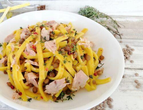 Pasta al limone con tonno e lenticchie
