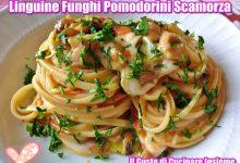 Linguine con funghi, pomodorini e scamorza