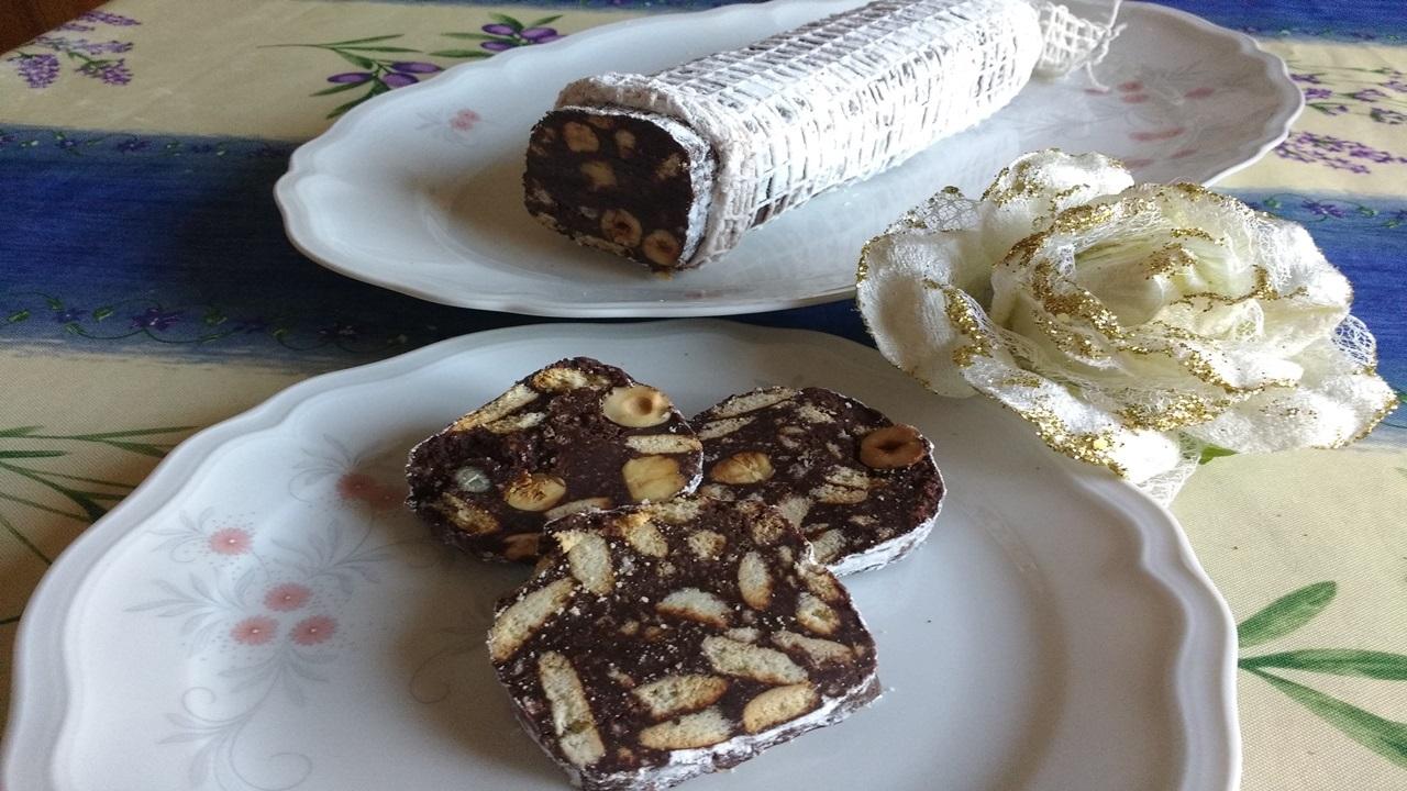 salame al cioccolato fondente senza uova