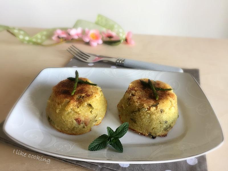 Tortino di patate asparagi e pancetta