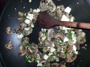 Riso venere con zucchine funghi e Camambert