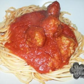 spaghetti al sugo di polpette