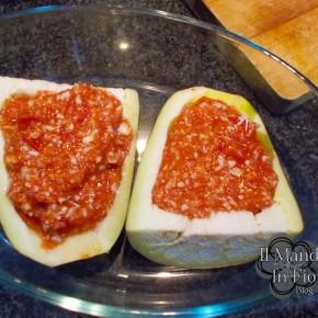 barchette di melanzane pomodoro e formaggio