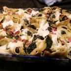 conchiglioni al forno con spinaci ricotta e pancetta