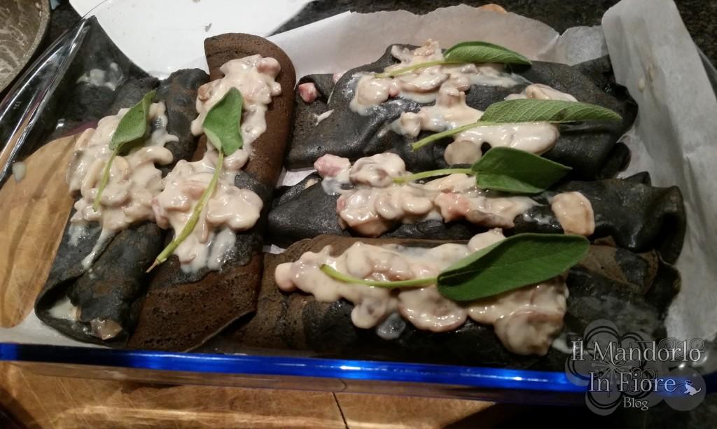 Crêpes nere funghi e besciamella