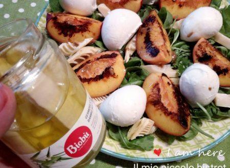 Insalata di pesche grigliate,bambu` e mozzarella