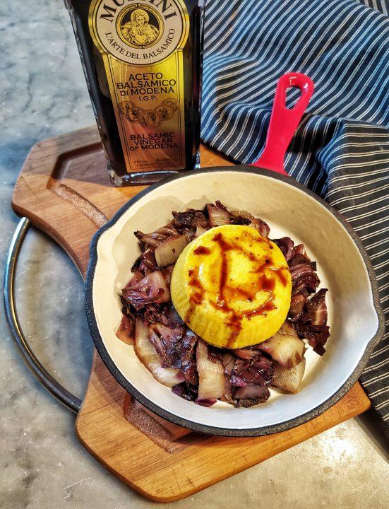 Flan al parmigiano con radicchio all'aceto balsamico