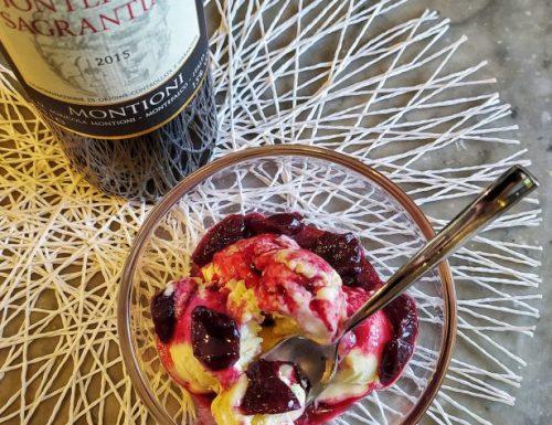 Gelato al mascarpone con salsa al Sagrantino e ciliegie