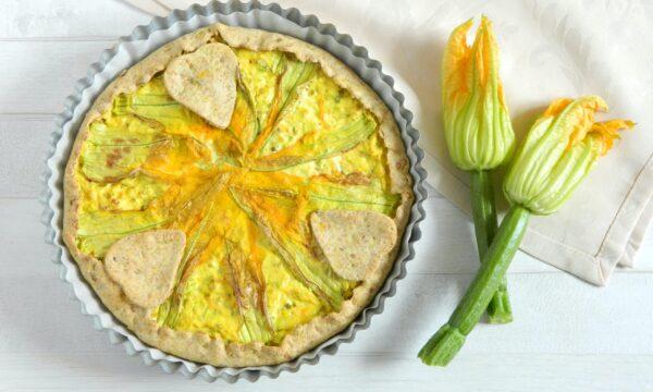 Torta salata integrale ai fiori di zucca