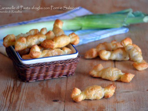 Caramelle di Pasta sfoglia con Porri e Salsiccia