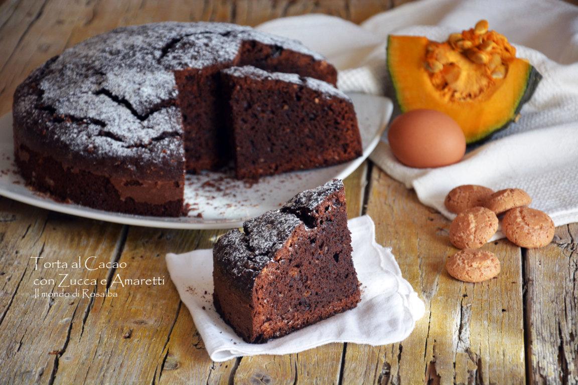 Ricetta Zucca Amaretti E Cioccolato.Torta Al Cacao Con Zucca E Amaretti Il Mondo Di Rosalba