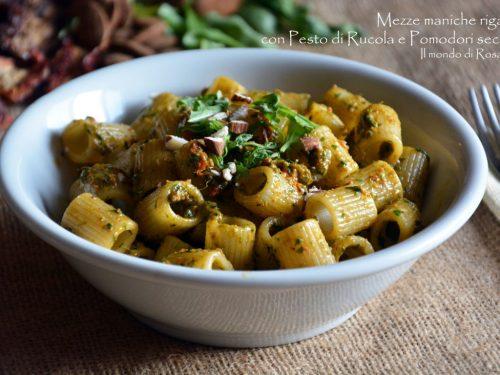 Mezze maniche rigate con Pesto di Rucola e Pomodori secchi