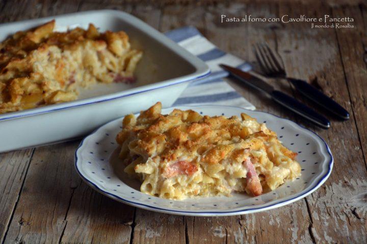 Pasta al forno con Cavolfiore e Pancetta