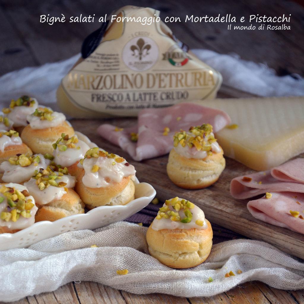 Bignè salati al Formaggio con Mortadella e Pistacchi