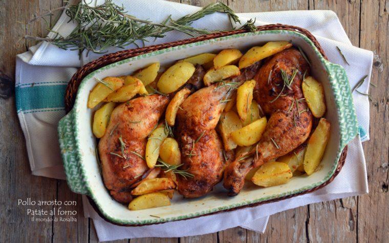 Pollo arrosto e patate al forno