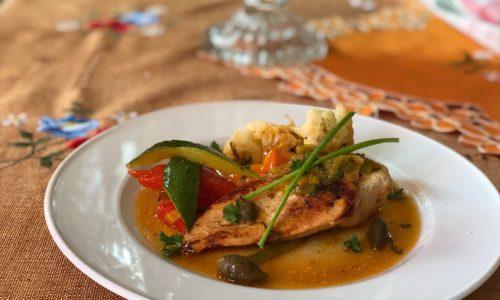 Pollo con verdure al vino bianco