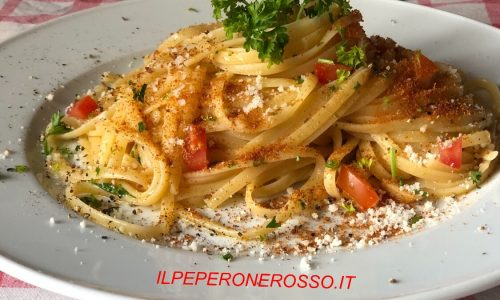 Linguine aglio e olio con la bottarga