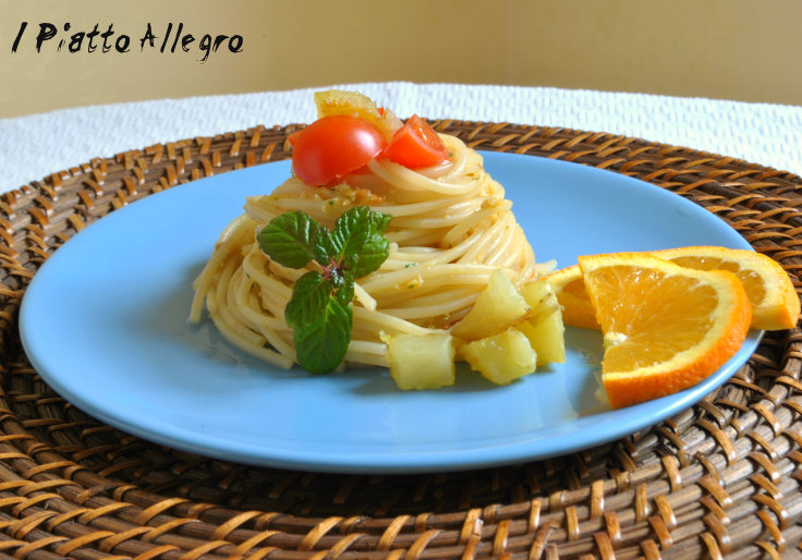 Spaghetti al pesto di arancia
