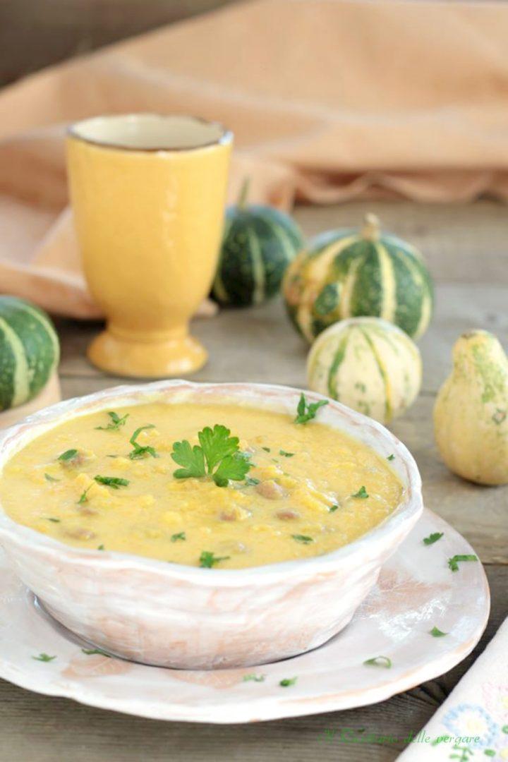 Zuppa di patate zucca e fagioli