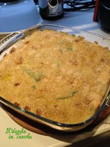 lasagne vegane di pane Guttiau, verza e bocconcini di soia