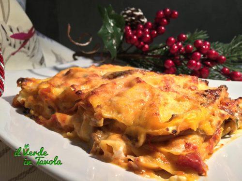 Lasagne ai funghi con besciamella alla zucca – videoricetta