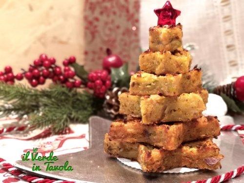Albero natalizio di rosti con zucca, porro e patate la ricetta