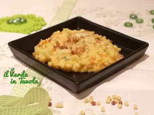 Fregola sarda con cavolfiore, carote, gorgonzola e noci la ricetta